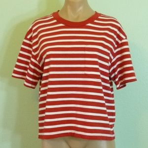 Madewell Pocket Tee M Red White Striped T-Shirt
